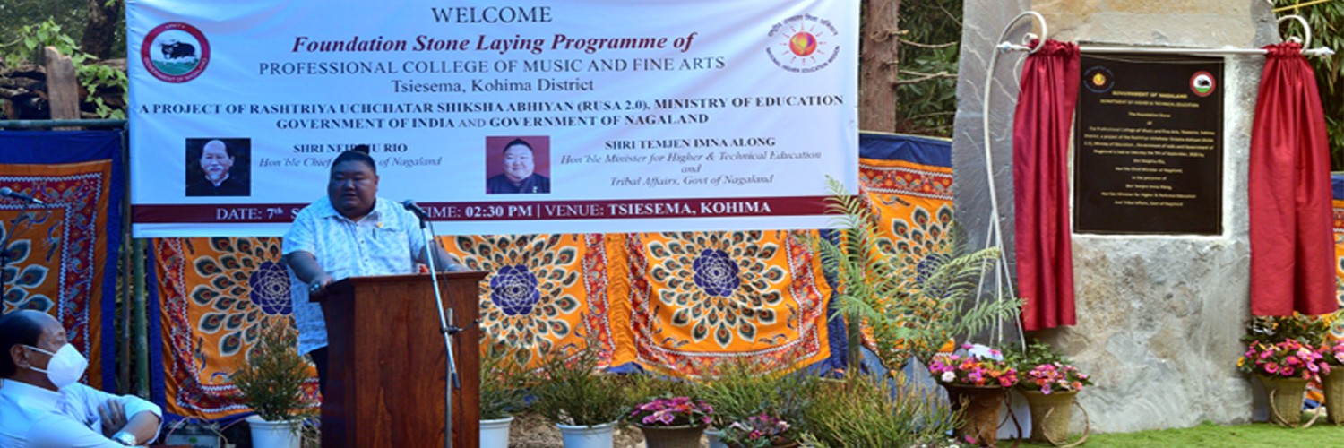 Hon'ble Minister of Higher & Technical Education and Tribal Affairs, Shri. Temjen Imna Along at the Foundation Stone Laying Programme of Professional College of Music & Fine Arts, Tsiesema, Kohima District